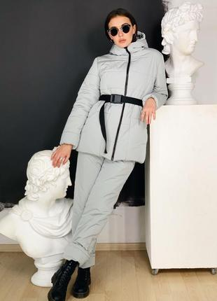 Скидка костюм зимний пуховик и комбенизон серый