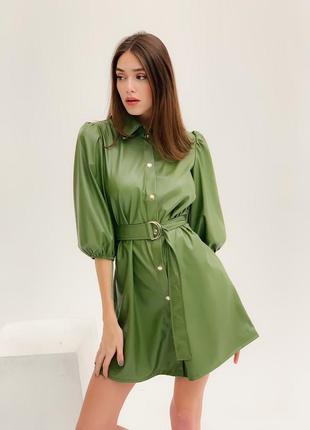 Новый цвет . кожаное платье зеленое