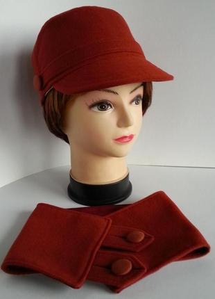 Кепка женская, кадетская кепка. кашемир - терракот. шарф в под...