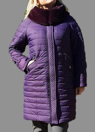 Зимнее женское фиолетовое пальто, большие размеры (52-62). 58