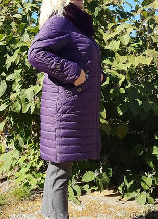 Зимнее женское фиолетовое пальто, большие размеры (52-62).
