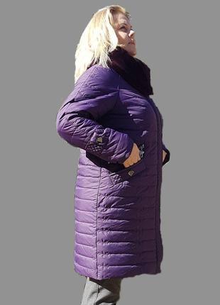 Зимнее женское фиолетовое пальто, большие размеры (52-62). 62