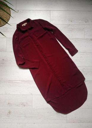 Платье рубашка миди с длинным рукавом р.8-10