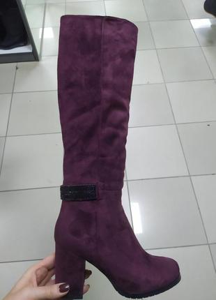 Женские зимние на каблуке шикарные сапоги
