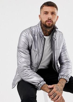 Серебристая серая блестящая куртка-пуховик boohoo man