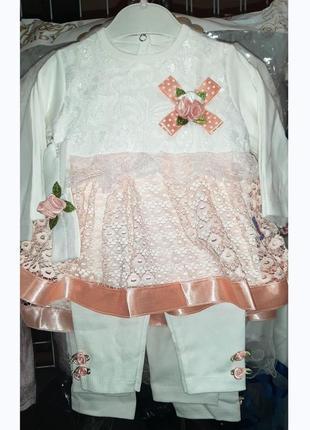 Платье-туника + лосины + повязка, комплект