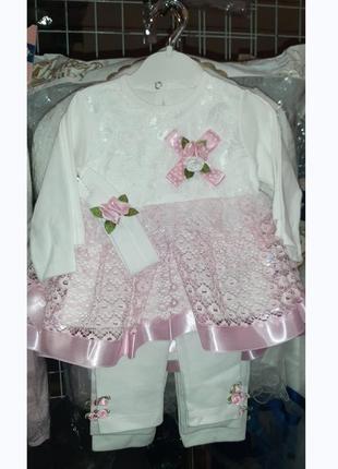 Платье + лосины + повязка для малышки