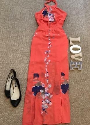 Яркое коралловое шифоновое платье сарафан с разрезами в пол