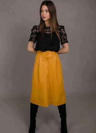 Яркая юбка миди из эко-кожи, кожаная юбка