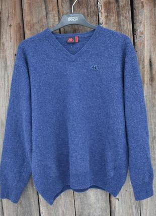 Kappa оригинал мужской свитер легкий из натуральной шерсти син...