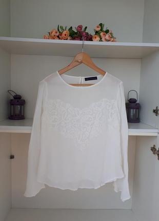 Нарядная блузка с кружевом  длинный рукав marks and spencer