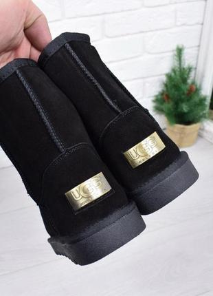 Sale натуральные замшевые угги женские черные низкие замш ботинки