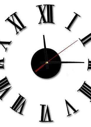 Настенные часы - стикеры черные с 3d-эффектом римские цифры