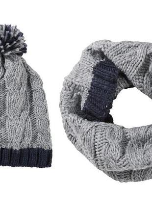 Стильный комплект вязаные шапка и шарф-снуд от pepperts. герма...