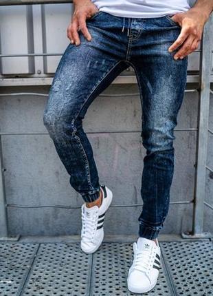Мужские джинсовые брюки джоггеры, темно-синие