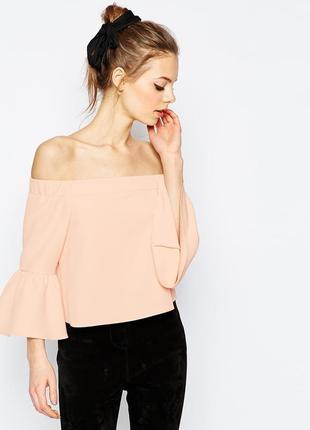 Пудровая блуза на плечи рукав воланом atmosphere p m