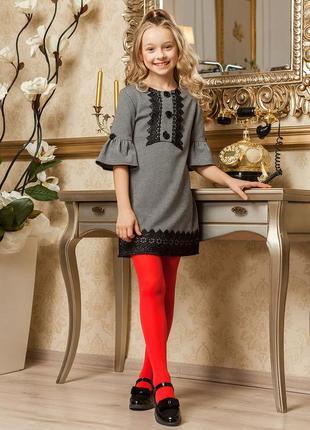 7-9 лет школьное платье с кружевом barbarris