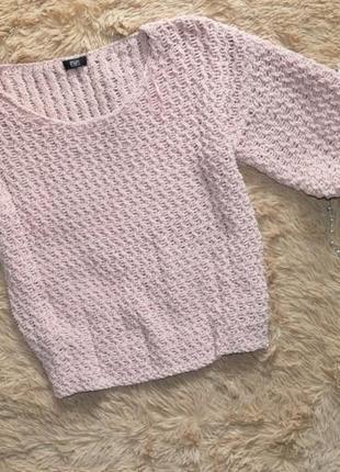 Велюровый свитер объемный рукав три четверти f&f p l
