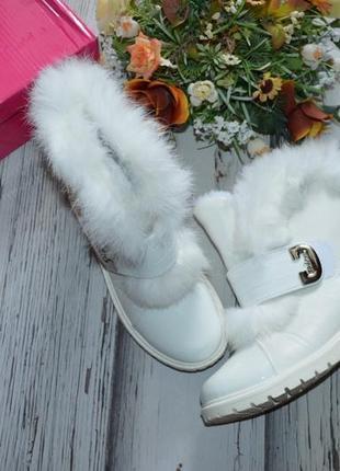 Белые зимние ботинки с опушкой кролика р 33