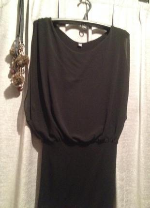 Оригинальное трикотажное платье туника с шифоновыми вставками.402