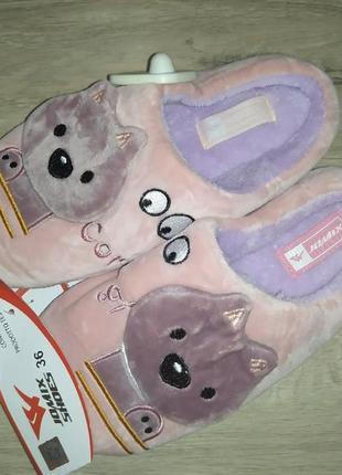Котики плюшевые домашние тапочки мягкие домашні капці