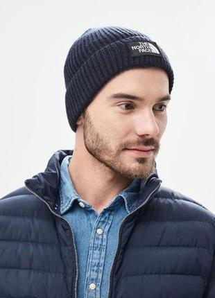 Оригинальная шапка The North Face Logo Box Cuffed Beanie Blue