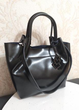 Кожаная женская сумка 2020, черная  натуральная кожа