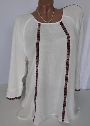 Блуза / рубашка молочная жатка с красивыми рукавами / вышивка,...