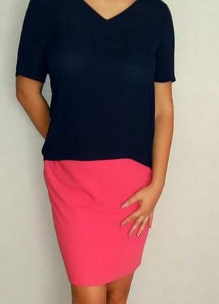 Коралловая офисная юбка карандаш на 46-48 размер