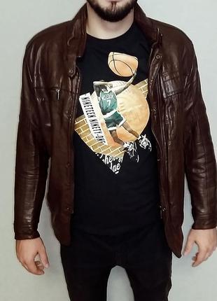 Теплая демисезонная куртка из искусственной кожи на размер м-l...