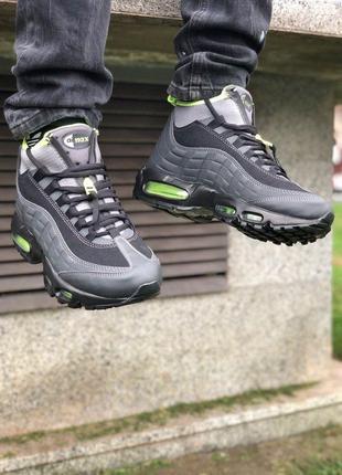 Nike Air Max 95 Sneakerboot (черно/зеленые) ЗИМА