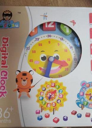Деревянные часы вкладыши в коробке, обучающая игрушка с дерева...