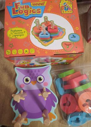 Деревянная игрушка совушка, пирамидка-сортер fun game в коробк...