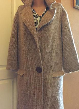 Теплое шерстяное пальто оверсайз