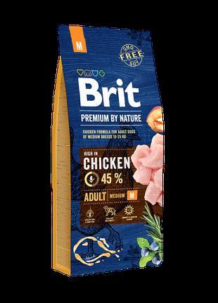 Корм Brit Premium Adult М для дорос собак серед. порід (курка) 15