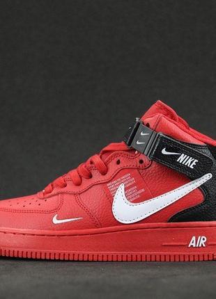 Nike Air Force 1 07 Mid LV8  (красные) ЗИМА