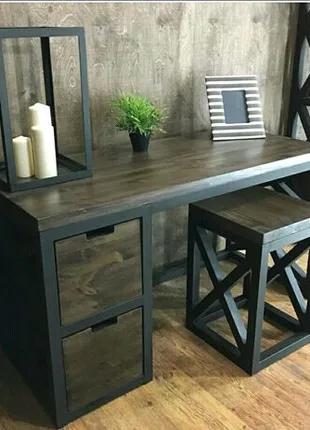 Мебель в стиле лофт из профильной трубы и фрагментами дерева.