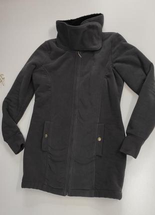 Флисовая удлиненная куртка на меху размер l