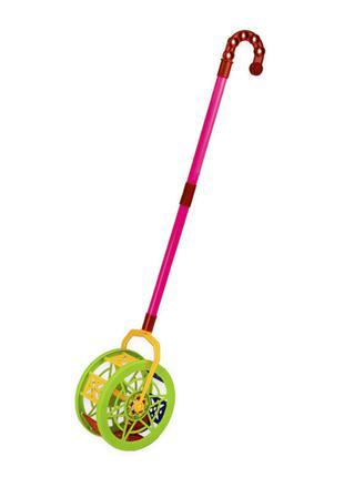 Детская каталка-колесо 777-8 длина ручки-43см (Зелёный)