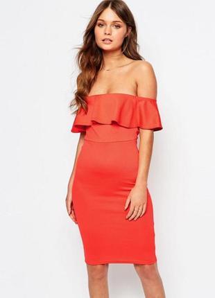 Кораловое платье с баской от new look, размер xl