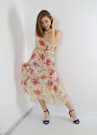 Mariella burani легкое шелковое платье с кружевной подкладкой ...