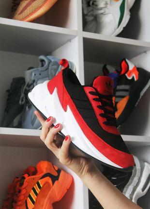 Женские кроссовки Adidas Sharks Black Red White, черные с красным
