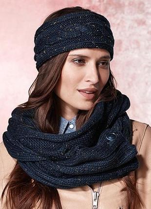 Sale -50%! большой теплый шарф-снуд хомут с золотистой нитью t...