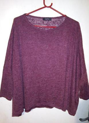 Стильный,меланж-бордо,тонкой трикотаж.вязки,джемпер-топ-свитер...