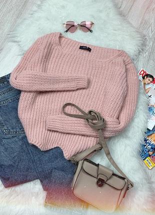 🌿 пудровый вязаный свитер zara | джемпер цвет пудра