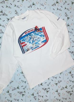 🎁1+1=3 фирменный белый мужской свитер с рисунком hanes, размер...