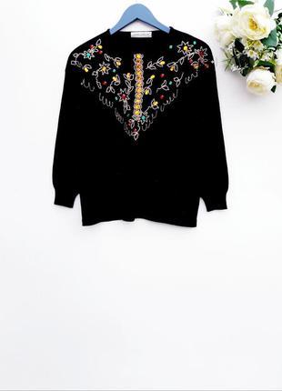 Шерстяный свитер с бисером шикарный свитер тёплый свитер