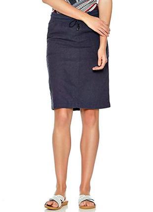 Распродажа! льняная юбка с карманами цвета индиго р.20