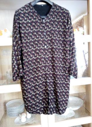 Натуральное платье рубашка туника большого размера