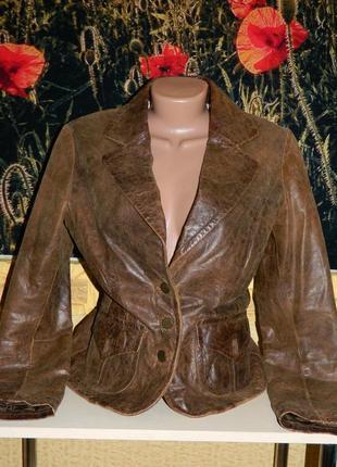 Пиджак женский коричневый натуральная кожа castro concept разм...